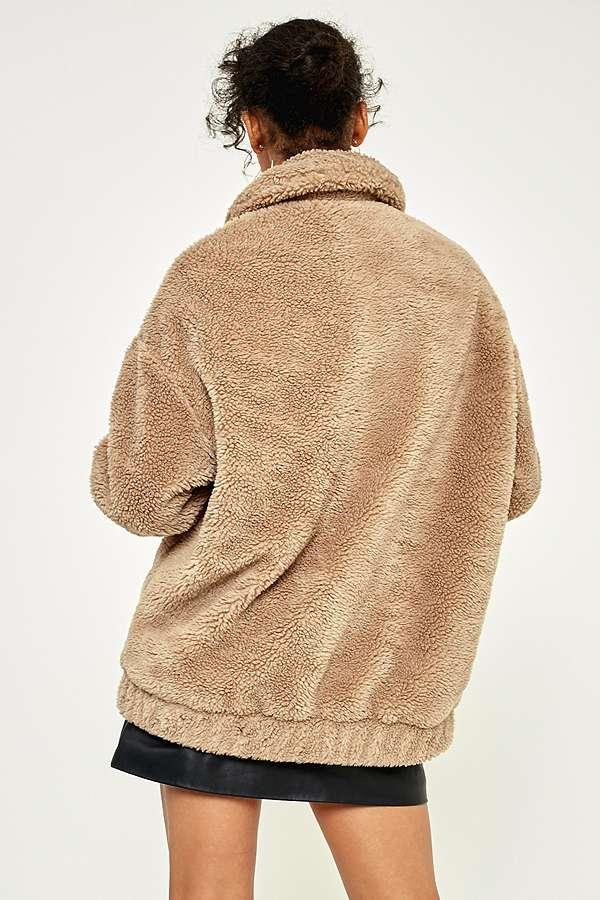 Light Before Dark Camel Teddy Zip Through Jacket Urban