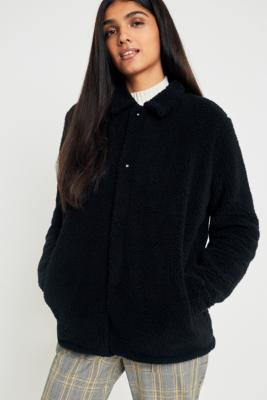 Fila - FILA Black Button-Down Teddy Coat, Black