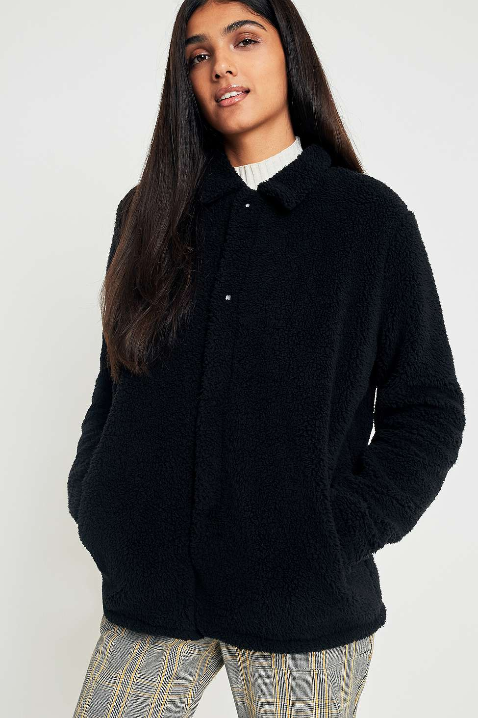 FILA Black Button-Down Teddy Coat, Black