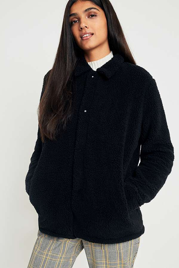 Fila Black Button Down Teddy Coat Urban Outfitters Uk