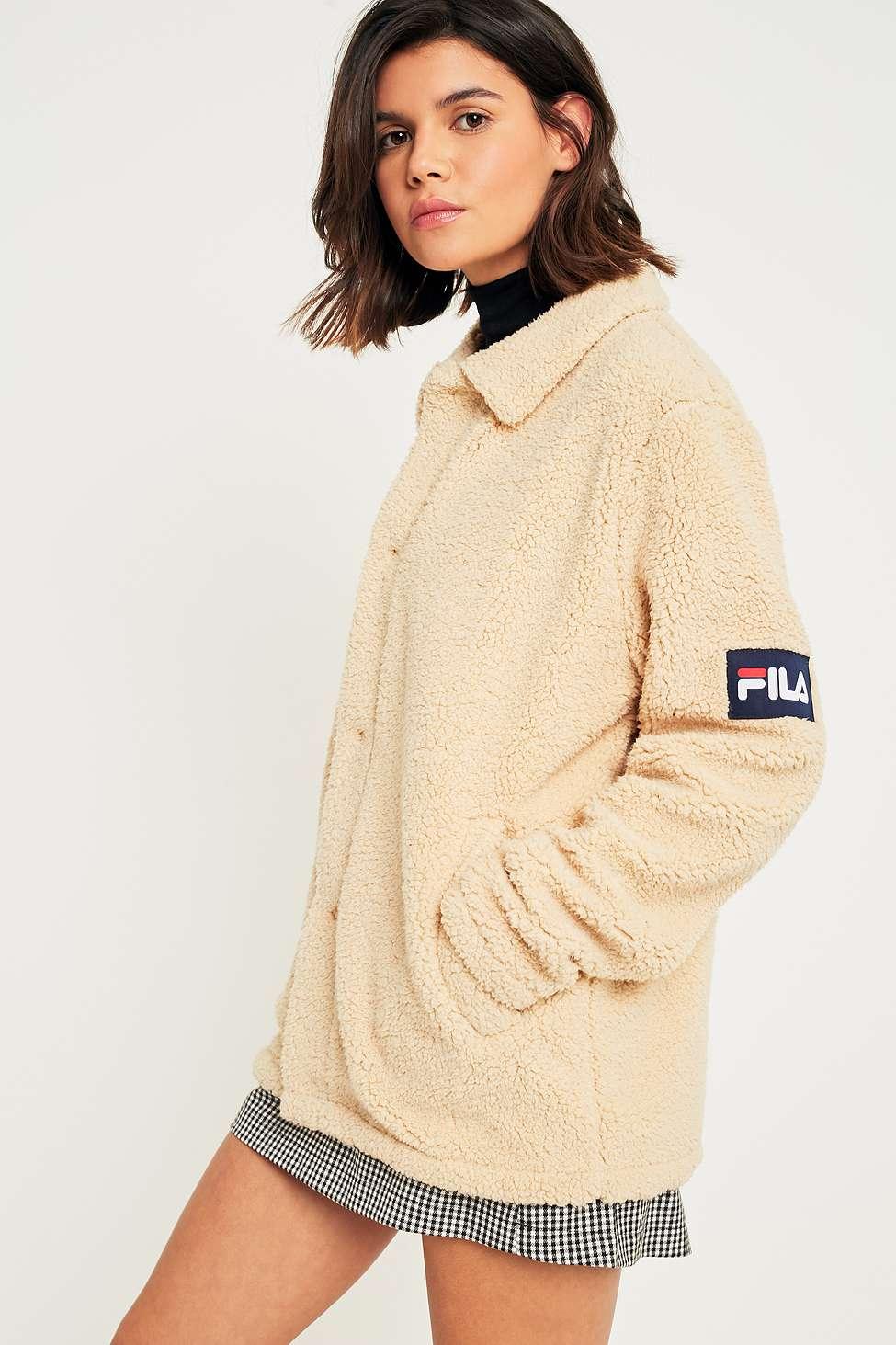 FILA Cream Button-Down Teddy Coat, Cream