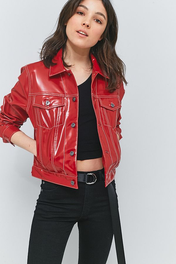 Mademe Red Vinyl Jacket Urban Outfitters