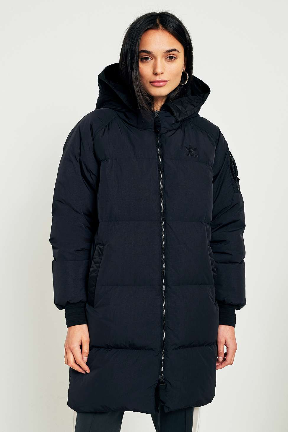 adidas Originals Black Long Puffer Jacket, Black