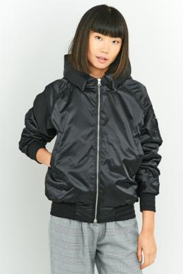 adidas EQT Black Hooded Bomber Jacket Black