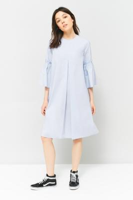 MM6 Maison Margiela - MM6 Poplin Pleated Fluted Sleeve Dress, Sky