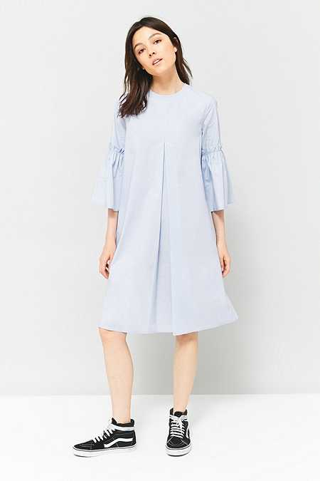 MM6 Poplin Pleated Fluted Sleeve Dress