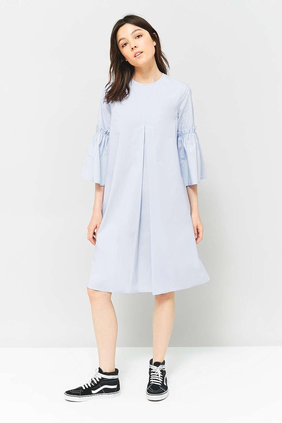 MM6 Poplin Pleated Fluted Sleeve Dress, Sky