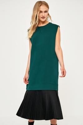 MM6 Maison Margiela - MM6 Sleeveless Pleated Sweatshirt Dress, D Green