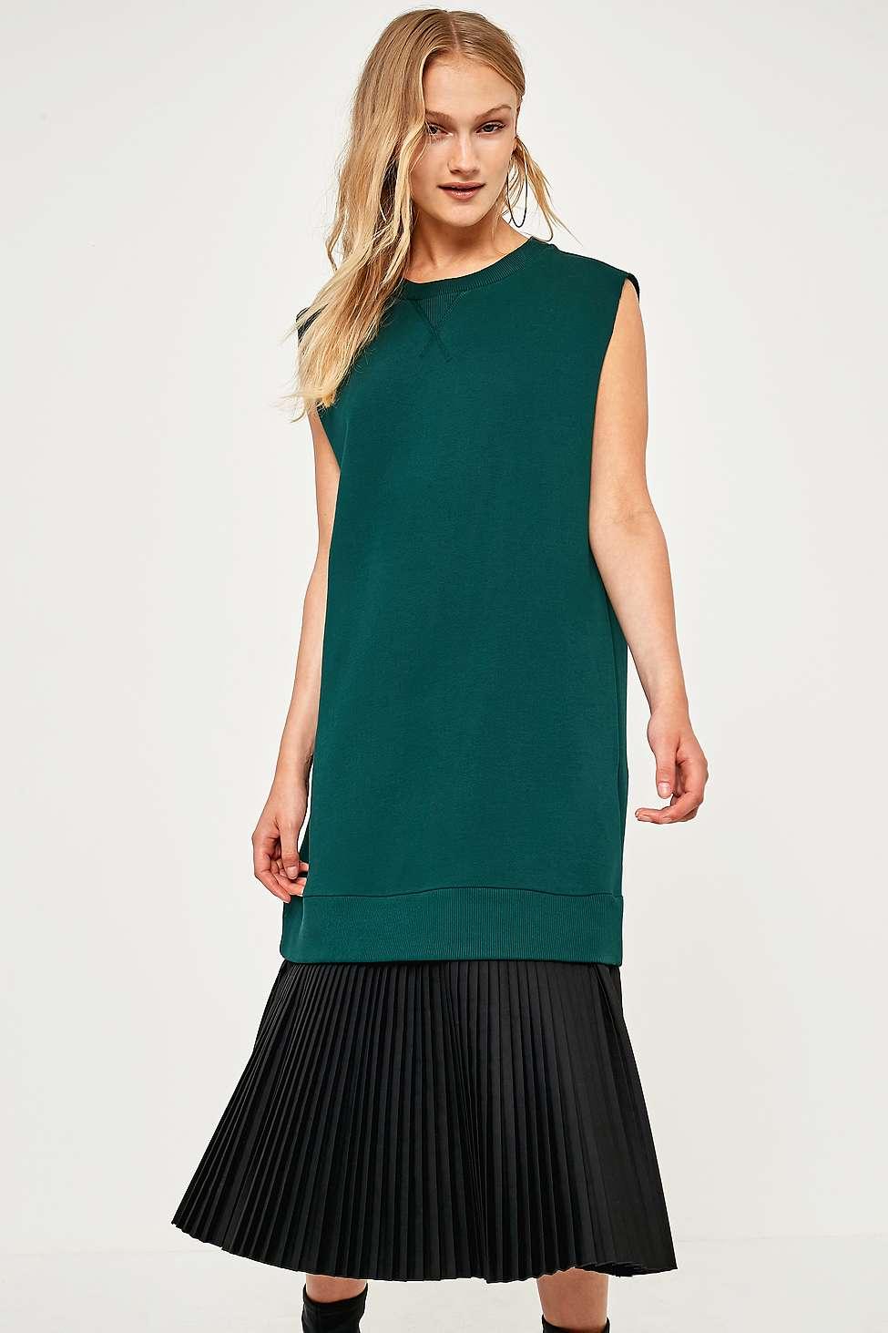 MM6 Sleeveless Pleated Sweatshirt Dress, D Green