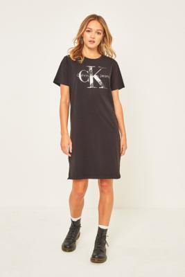 Calvin Klein Dakota Tie Dye Logo T-Shirt Dress, BLACK