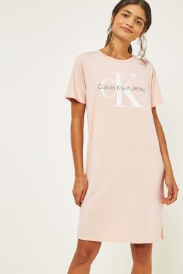 Calvin Klein Pink Logo T-Shirt Dress, PINK