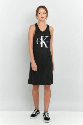 Calvin Klein Black Logo Tank Dress Black