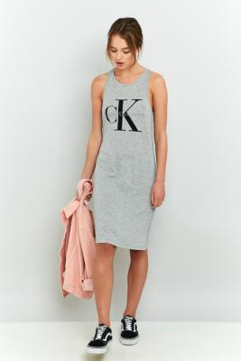Calvin Klein Grey Logo Tank Dress Grey