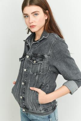 Calvin Klein Black Denim Trucker Jacket, BLACK