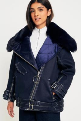Angel Chen - Angel Chen Faux Fur Collar Biker Jacket, Navy