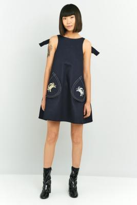 Angel Chen Embroidered Denim Dress Navy