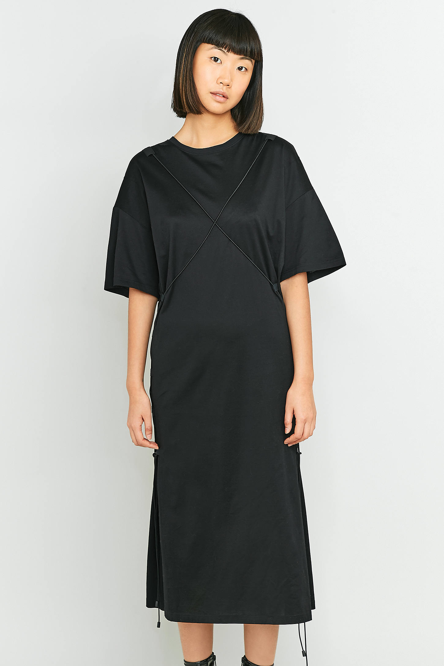 MARIOS Black String Maxi T-shirt Dress | Urban Outfitters