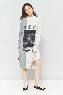 Perks And Mini - Perks And Mini Witch Mash-Up Long Sleeve T-Shirt Dress, Grey