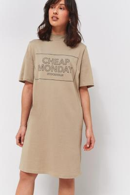 Cheap Monday Smash Beige Logo T-Shirt Dress, BEIGE