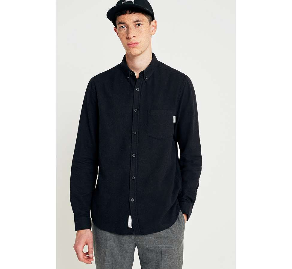 Slide View: 1: Shore Leave by Urban Outfitters Black Brushed Herringbone Long-Sleeve Shirt