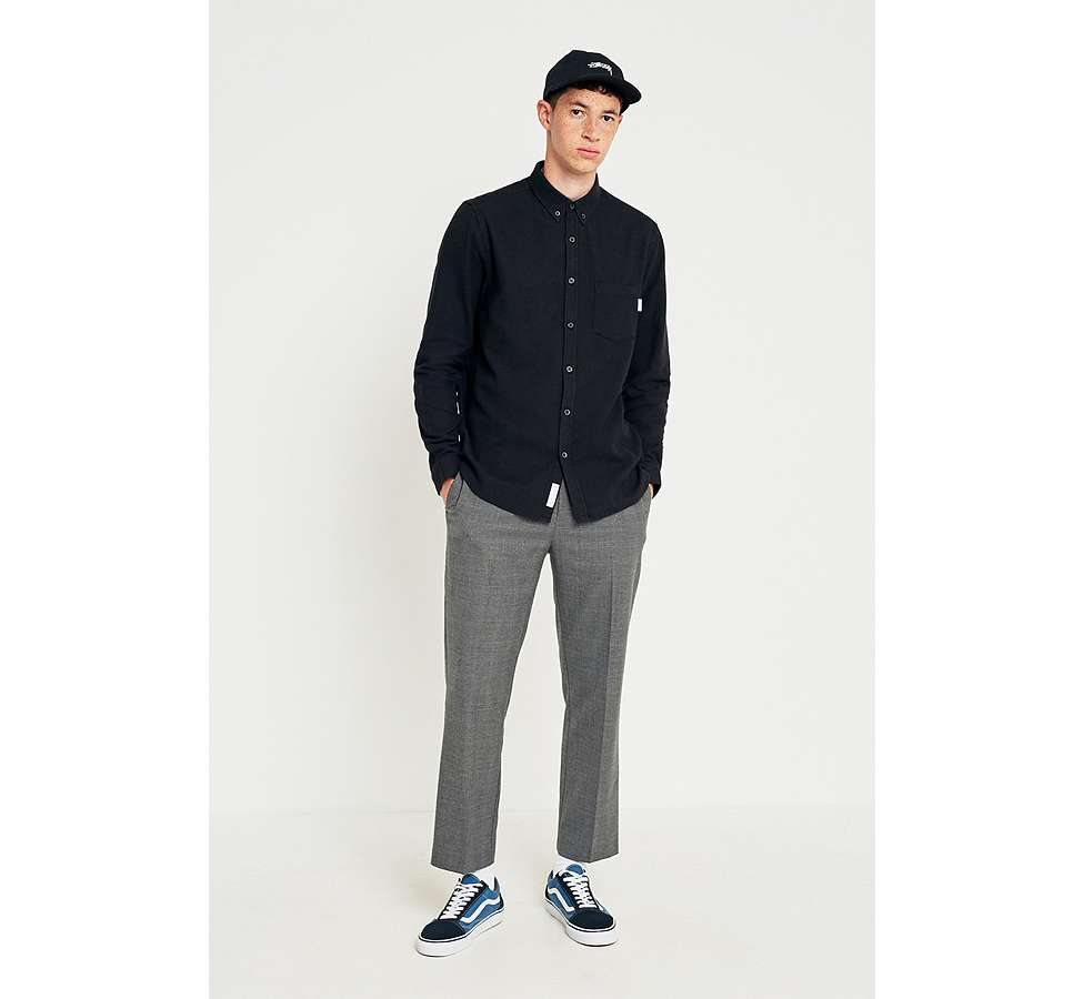 Slide View: 5: Shore Leave by Urban Outfitters Black Brushed Herringbone Long-Sleeve Shirt