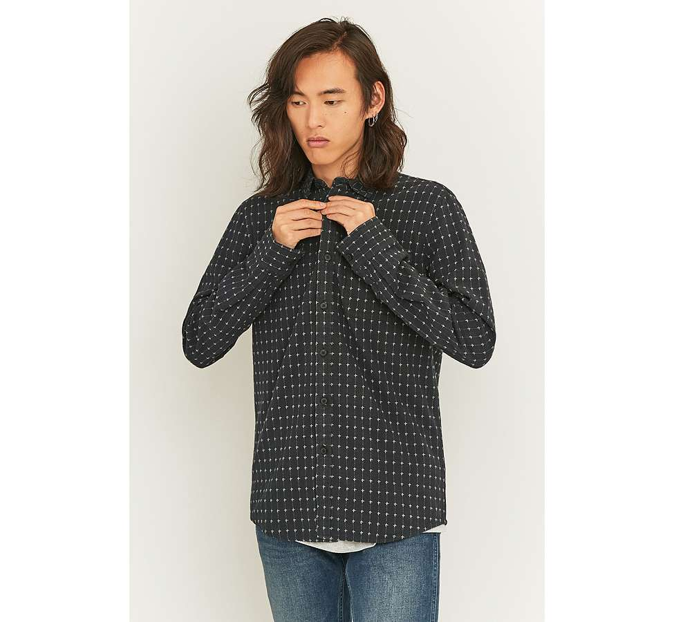 Slide View: 3: Shore Leave by Urban Outfitters Black Dobby Shirt