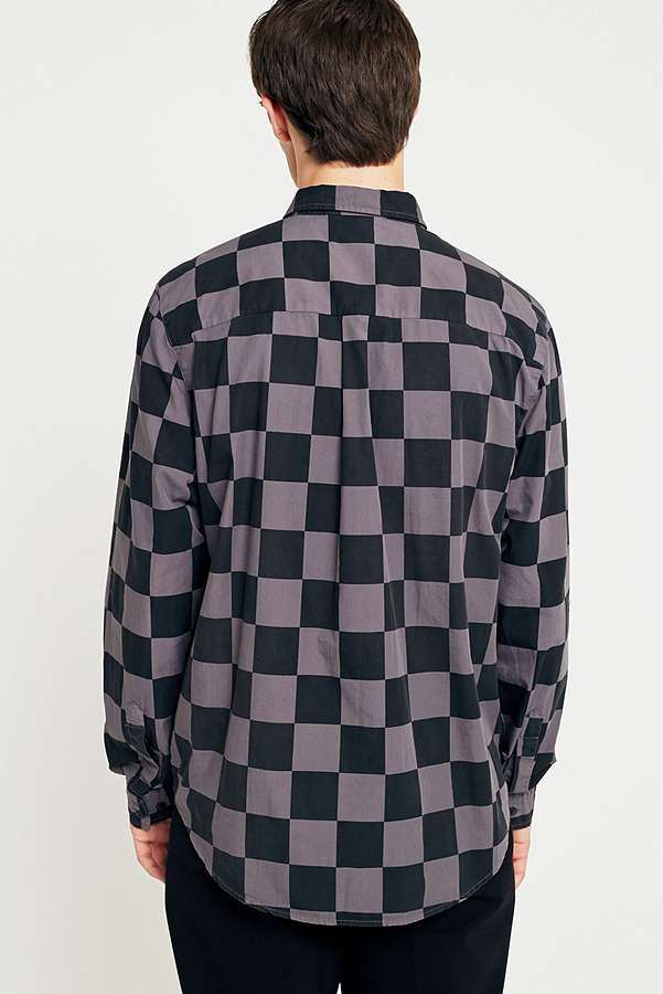 Loom Oversized Pink and Black Checkerboard Shirt   Urban Outfitters