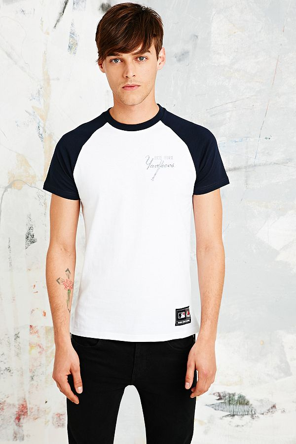 Majestic Athletic New York Yankees Raglan Tee in White  86f851fb903