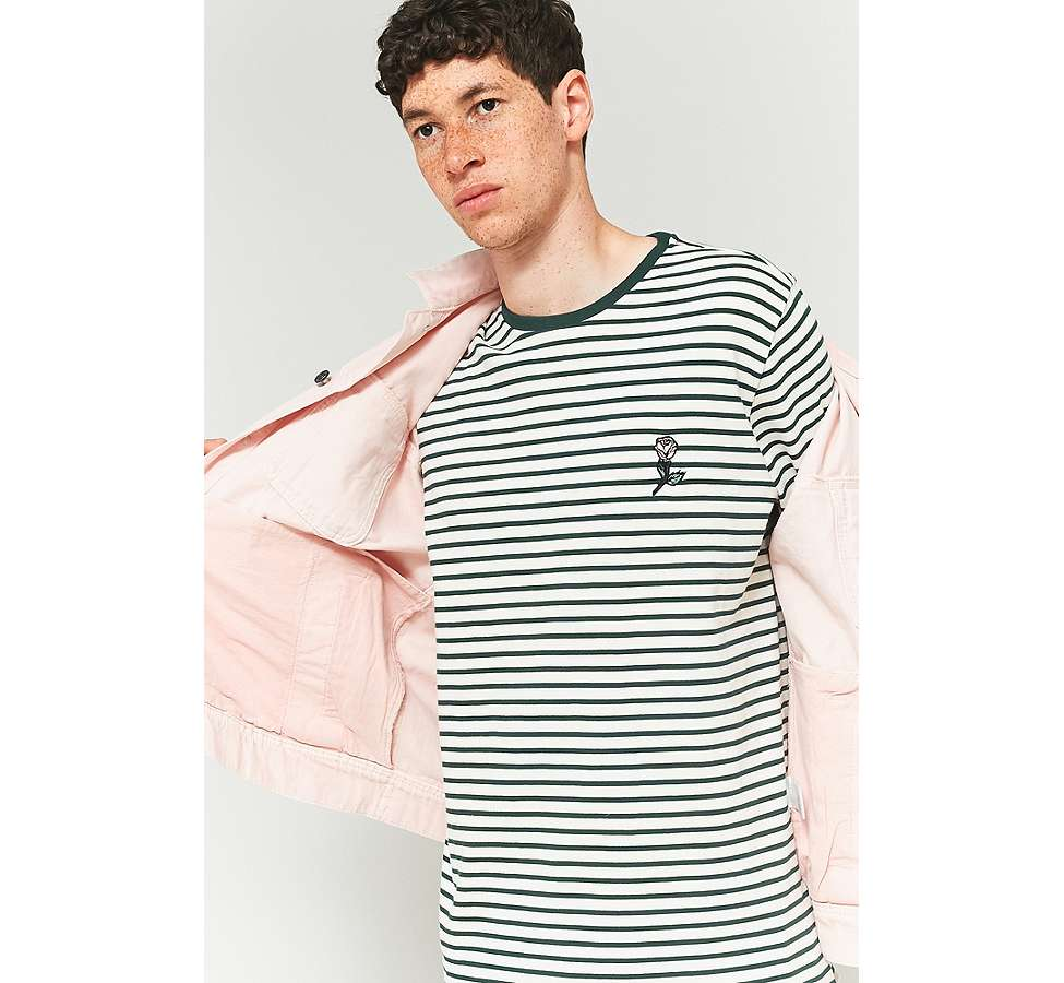 Slide View: 2: Shore Leave by Urban Outfitters Green and Ecru Striped Rose Embroidery Long-Sleeve T-shirt