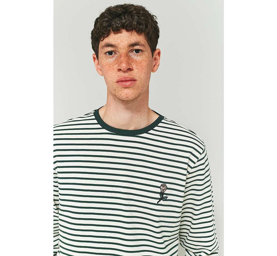 Slide View: 3: Shore Leave by Urban Outfitters Green and Ecru Striped Rose Embroidery Long-Sleeve T-shirt