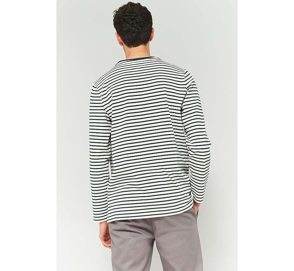 Slide View: 4: Shore Leave by Urban Outfitters Green and Ecru Striped Rose Embroidery Long-Sleeve T-shirt