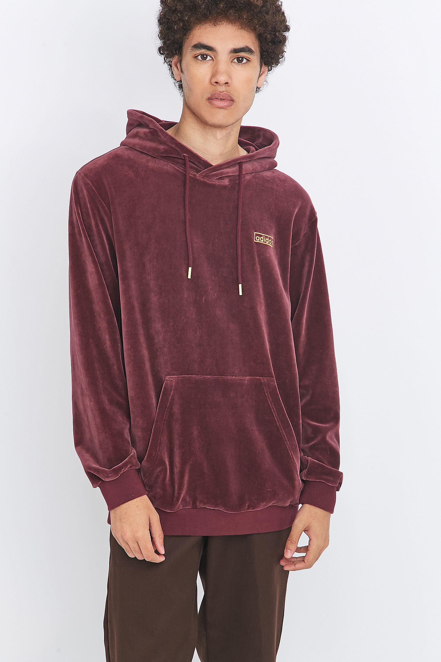 adidas Originals Maroon Velour Pullover Hoodie  41de296fb367