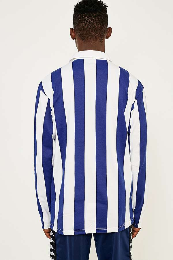 Slide View 4 Uo Blue And White Vertical Stripe Rugby Shirt