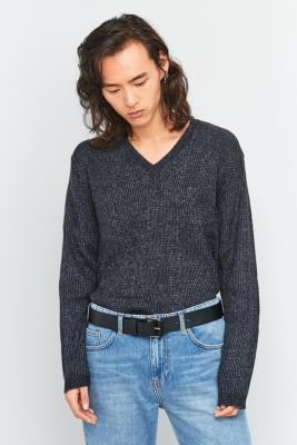 Cheap Monday Curve Black and Grey V-Neck Mix Knit Jumper, BLACK