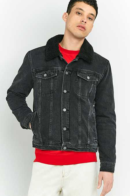 Loom Washed Black Denim Sherpa Collar Trucker Jacket - Men's Denim & Sherpa Jackets Outerwear Urban Outfitters