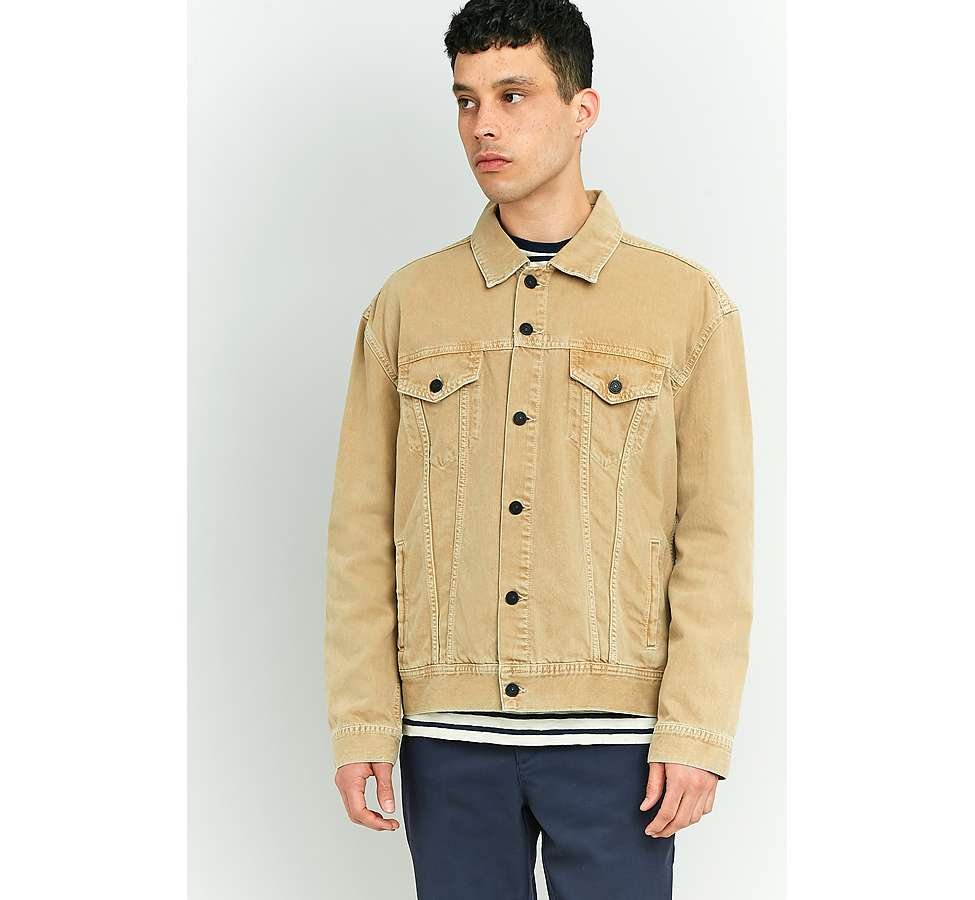 Slide View: 3: Loom Hooper Sand Denim Trucker Jacket