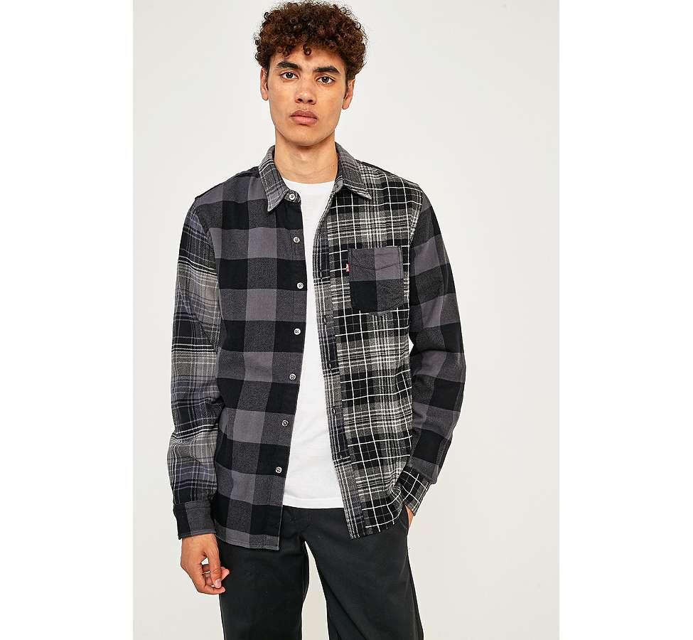Slide View: 1: Levi's Pieced Grey Altered 1-Pocket Long-Sleeve Shirt