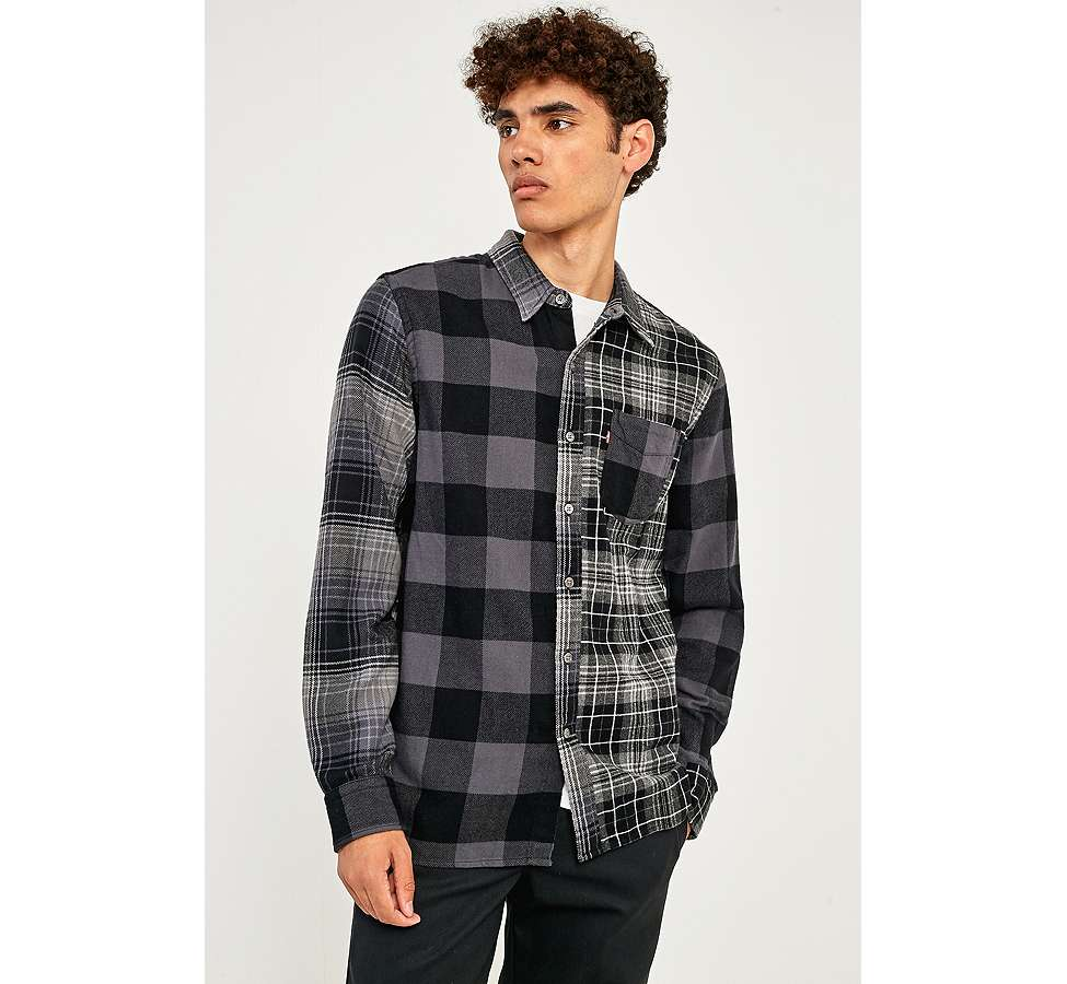 Slide View: 2: Levi's Pieced Grey Altered 1-Pocket Long-Sleeve Shirt