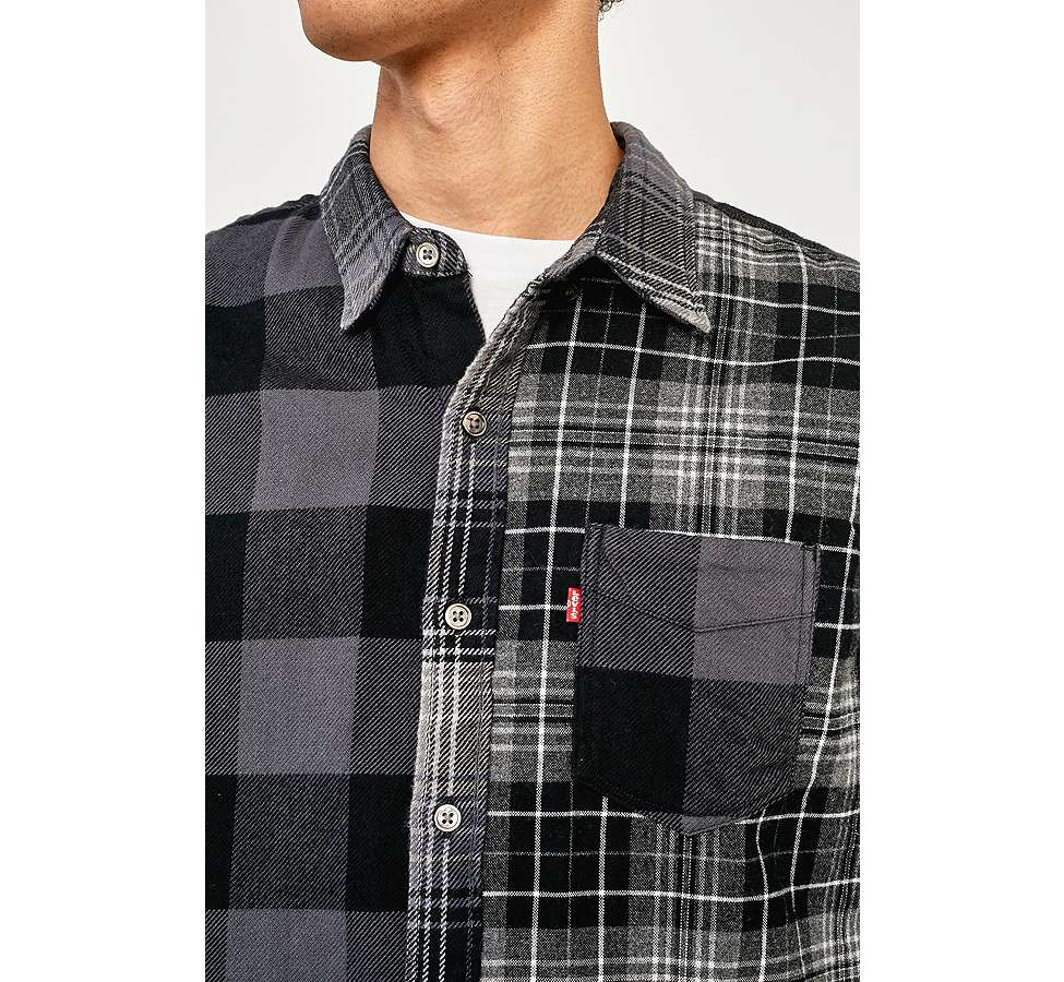 Slide View: 3: Levi's Pieced Grey Altered 1-Pocket Long-Sleeve Shirt