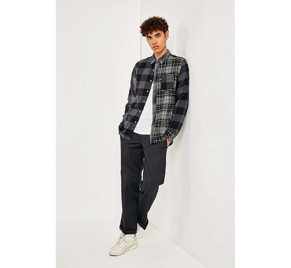 Slide View: 6: Levi's Pieced Grey Altered 1-Pocket Long-Sleeve Shirt