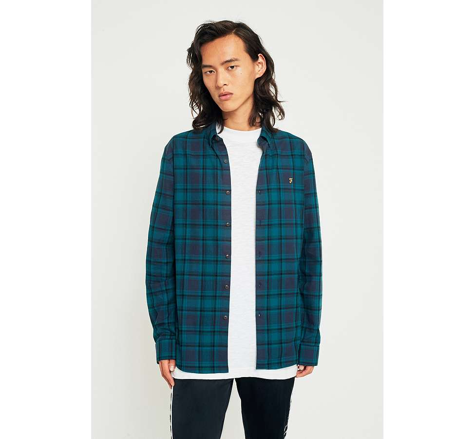 Slide View: 1: Farah Waithe True Navy Check Shirt