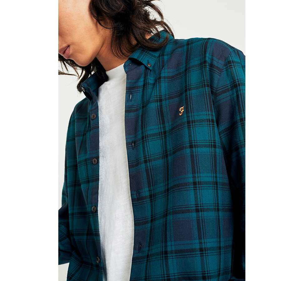 Slide View: 4: Farah Waithe True Navy Check Shirt