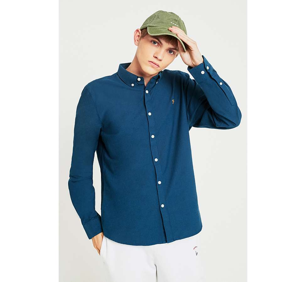 Slide View: 1: Farah Brewer Atlantic Blue Long-Sleeve Shirt