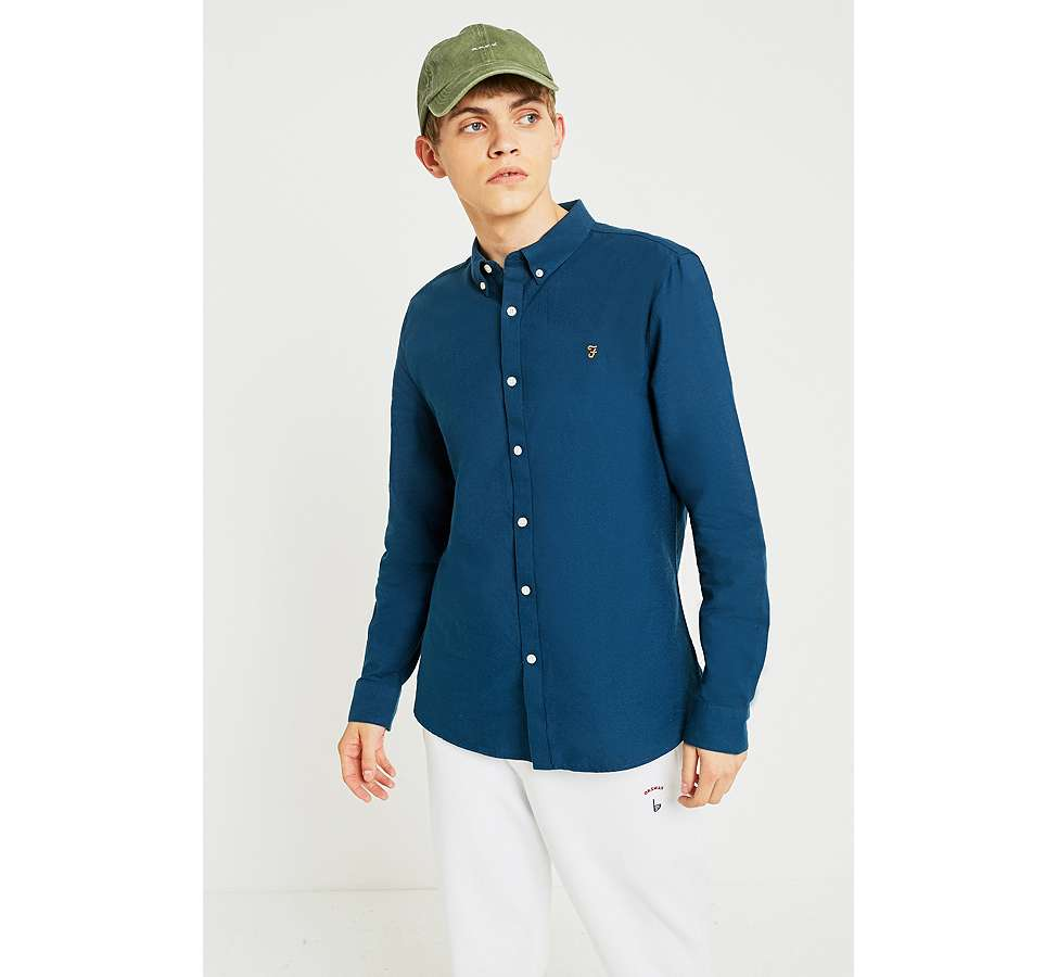 Slide View: 4: Farah Brewer Atlantic Blue Long-Sleeve Shirt