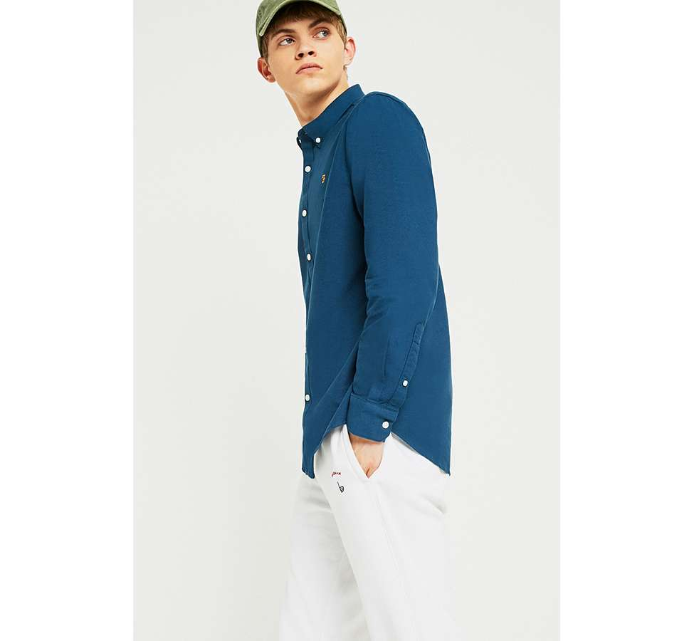 Slide View: 6: Farah Brewer Atlantic Blue Long-Sleeve Shirt
