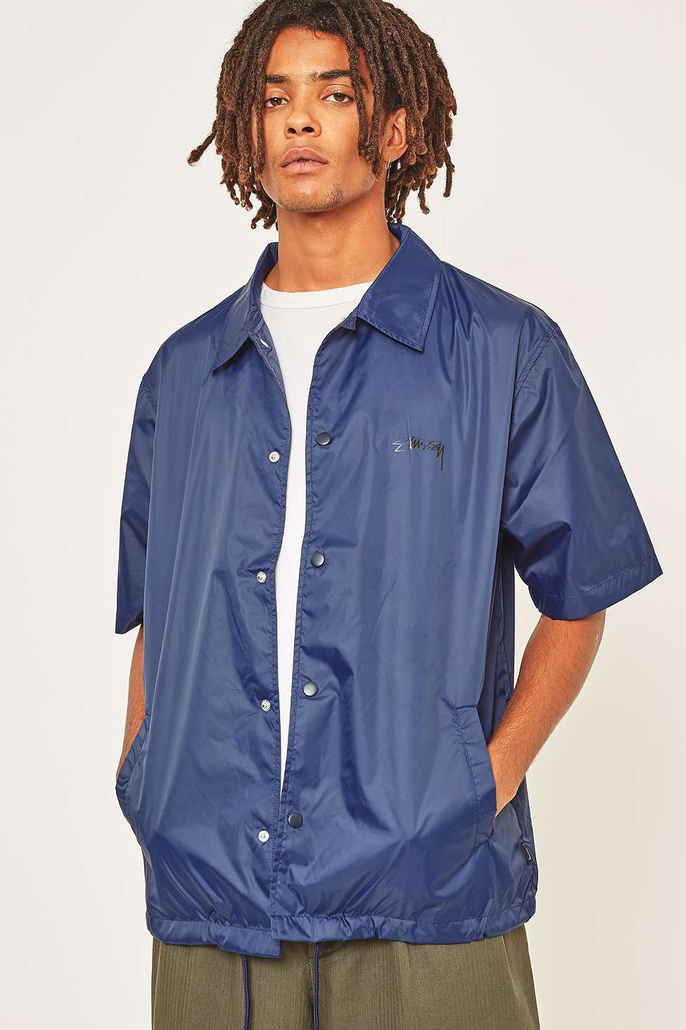 Stussy Navy Short-Sleeve Coach Jacket | Urban Outfitters