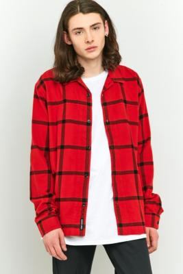 Cheap Monday Red and Black Check Guard Long-Sleeve Shirt, RED