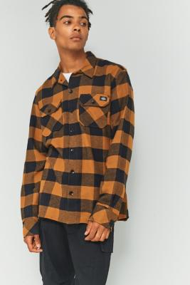 Dickies Sacramento Brown Duck Check Long-Sleeve Shirt, BRONZE