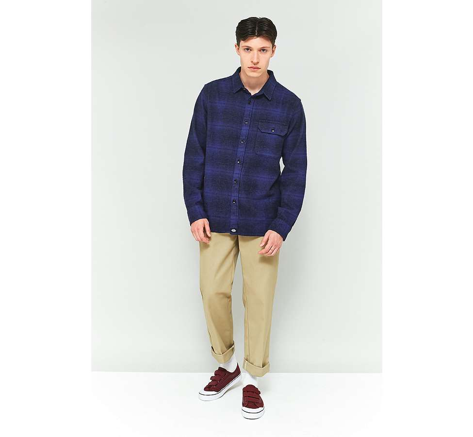 Slide View: 1: Dickies Ivyland Blue Check Long-Sleeve Shirt