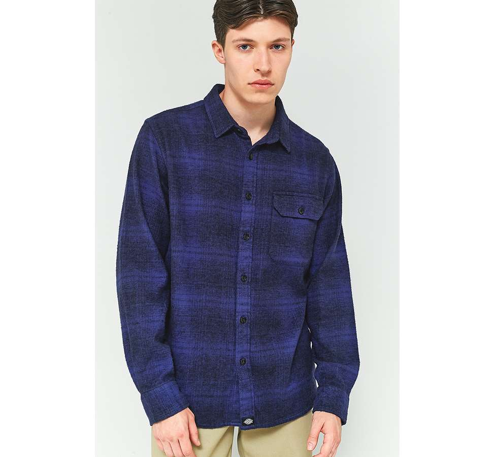 Slide View: 2: Dickies Ivyland Blue Check Long-Sleeve Shirt